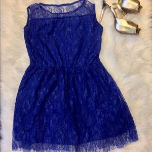 Dresses & Skirts - NWOT- Cobalt Blue Lace Mini Dress